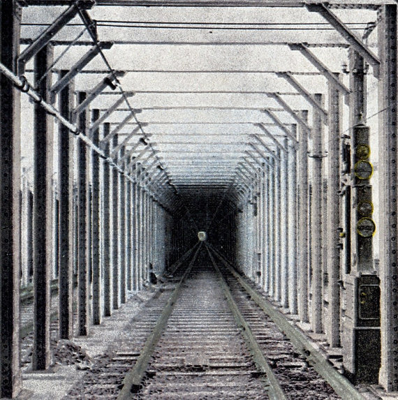 New York subway tunnel_1920s_hand tinted black and white photograph