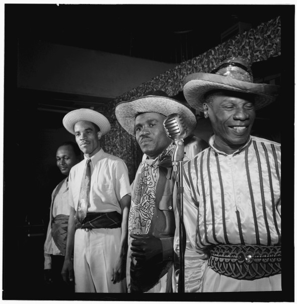 1947 photograph by William P. Gottlieb_probably at the Renaissance ballroom in Harlem_Calypsonians from Trinidad that included Lord Invader, Macbeth the Great, the Duke of Iron, and the Count of Monte Cristo