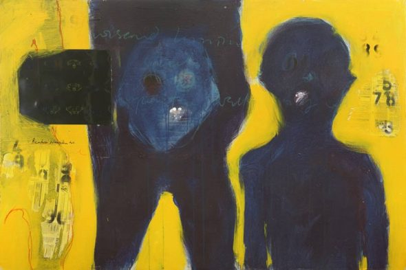 Beatrice Wanjiku (born 1978, Kenya)_Untitled_from the Yellow series_mixed media on canvas