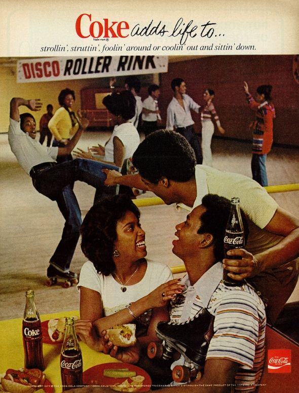 Coca Cola advertisement from 1977_featuring Black couples at the Disco Roller Rink