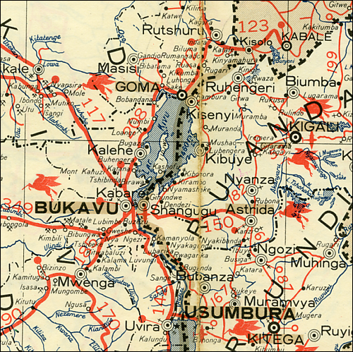 Detail of a map of the east middle part of Democratic Republic of The Congo showing the city of Bukavu on Lake Kivu_sections of Rwanda and Burundi are also shown
