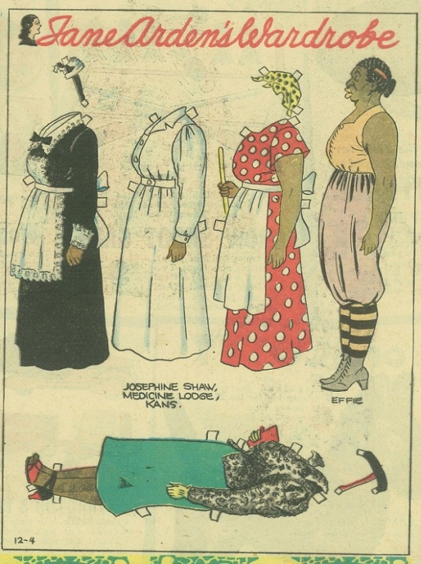 Effie Slivers_appeared in Lena Pry and Jane Arden comic strips_by Monte Barrett and Jack W. McGuire_Vintage Black paper doll from 1938