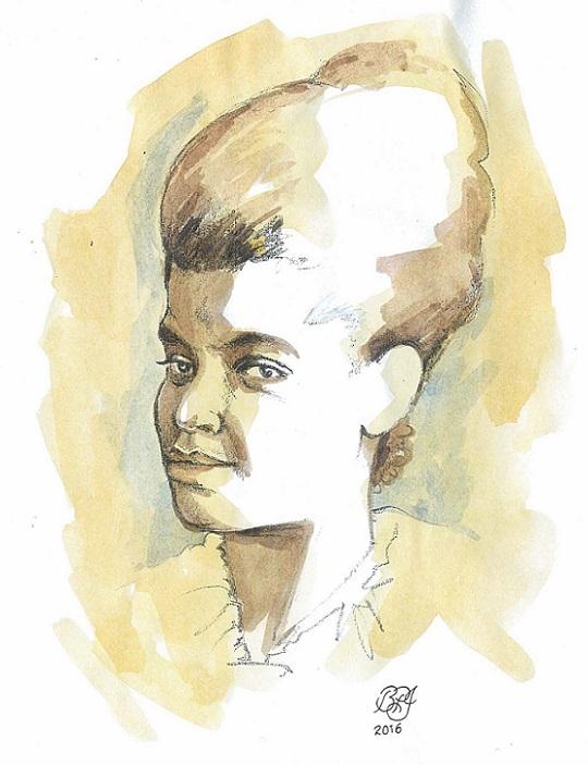 Ida B. Wells portrait by Bruce Patrick Jones_graphite and watercolour