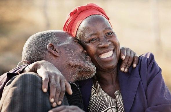 Loving elderly Black couple