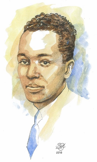 Portrait de Langston Hughes par Bruce Patrick Jones_graphite et aquarelle_2016