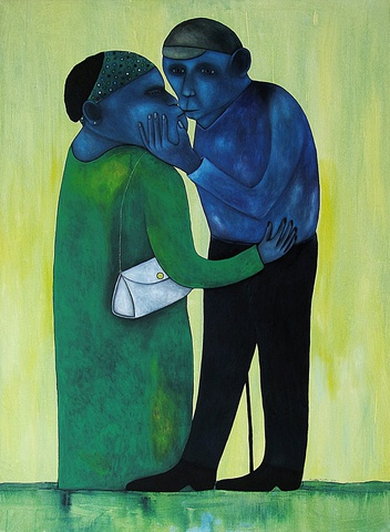 Richard Kimathi_mixed media on canvas_The Kiss_2012
