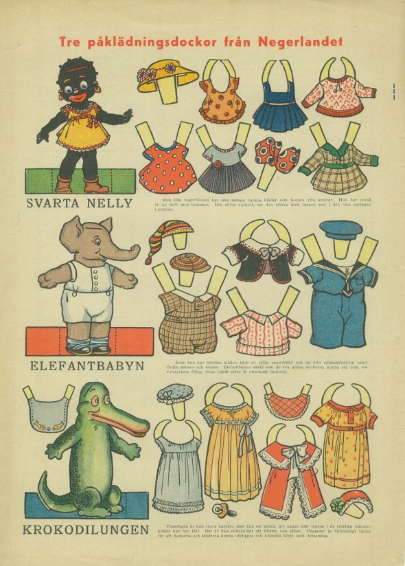 Svarta Nelly_Elefantbabyn_Krokodilungen_Tre påklädningsdockor från Negerlandet_Vintage Black paper doll from a 1935 Swedish newspaper called Allers