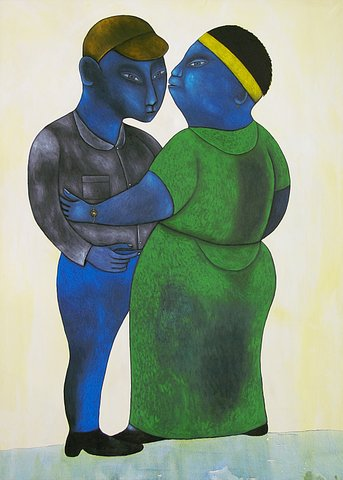 The Couple_Motherly Love_by Richard Kimathi_painter from Kenya_born 1971