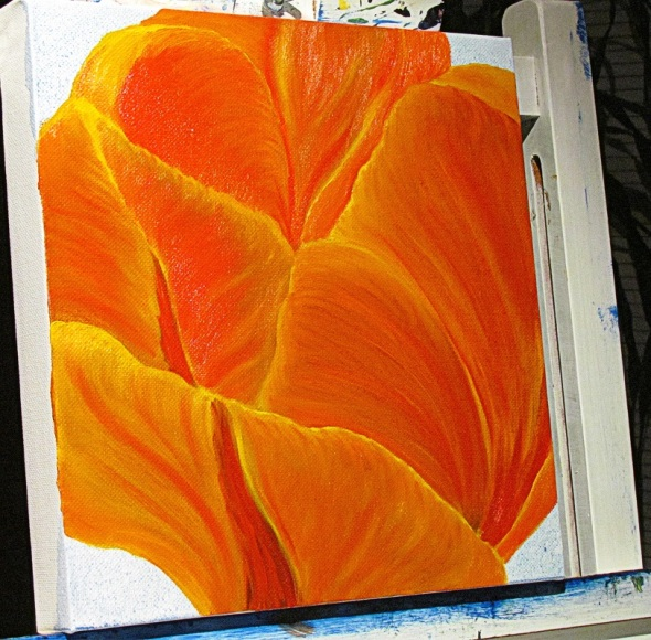 Orange Tulip_a painting in progress by Eva K.