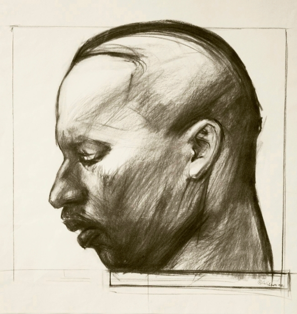 Carboncillo de Martin Luther KING junior (1929-1968)_por John Wilson / Charcoal study for a bronze sculpture of Martin Luther KING Jr. by John Wilson (1922- 2015)