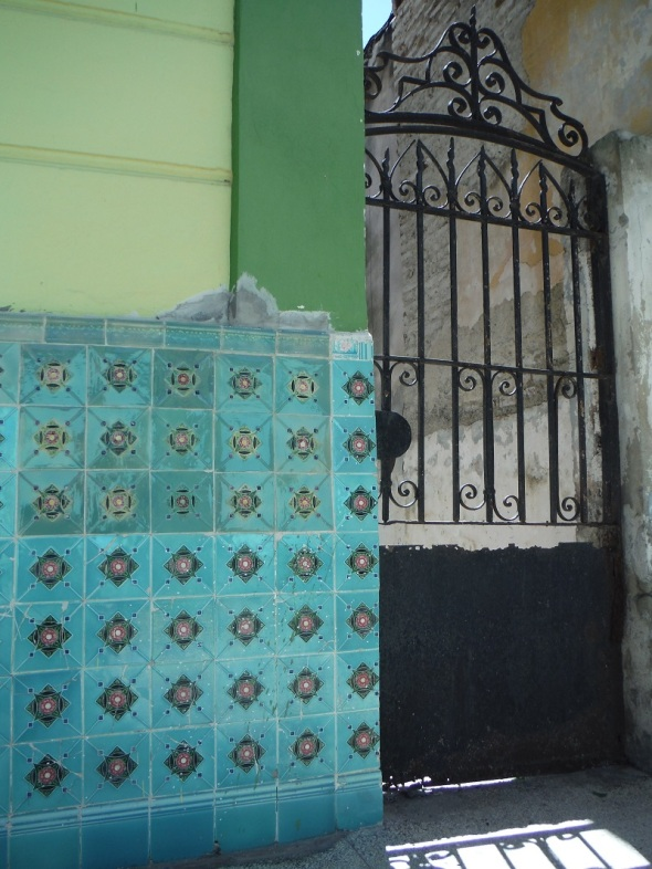 Decorative tiles and wrought iron gate_a museum in Holguín_Cuba