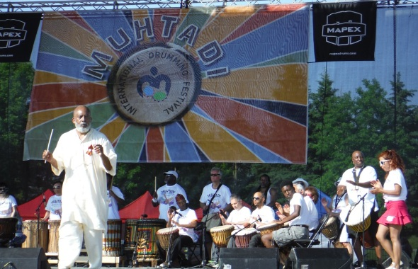 Muhtadi International Drumming Festival_Saturday June 4th 2016_Muhtadi Thomas_standing at front left_with his World Drummers ensemble