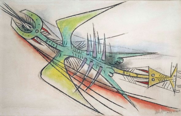 Wilfredo Lam (1902- 1982): Untitled (1957)_pastel on heavy paper and canvas