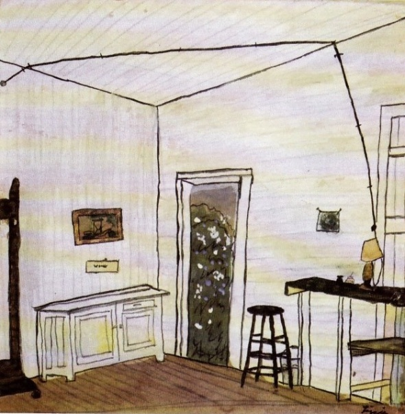 Elizabeth Bishop_the poet as painter_Interior with Extension Cord_Watercolour gouache ink