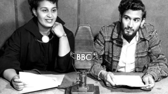 Pauline Enriques with Samuel Sevlon_Caribbean Voices BBC radio programme_1952