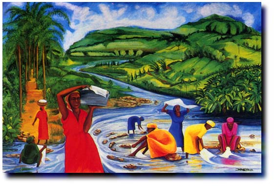 """Washday by the River"" by Jamaican artist Bernard Stanley Hoyes"